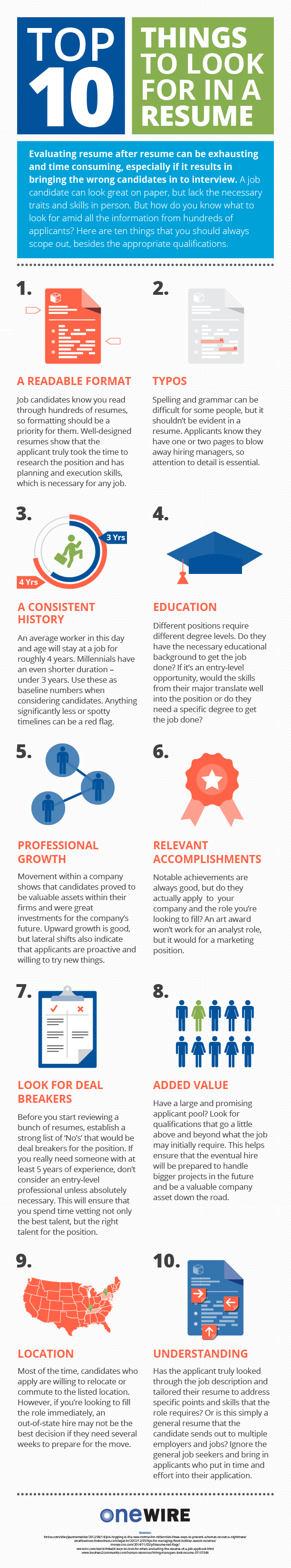top 10 things to look for in a resume infographic